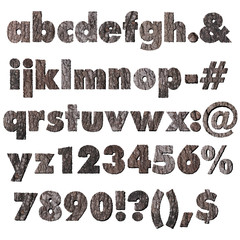 Oak wood bark alphabet lower case and symbols
