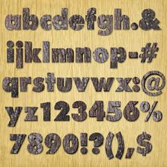 Oak  bark alphabet on wood - lower case