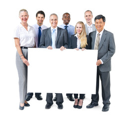 Group of Business People Holding Placard