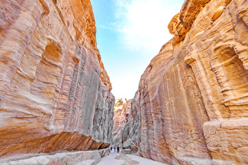 The Siq in the ancient Jordanian city of Petra, Jordan.