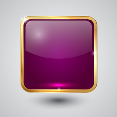 Vector glass square button with round corners and golden frame