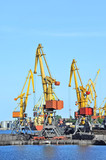 Port cargo crane over blue sky background