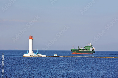 LPG (liquid petroleum gas) tanker and lighthouse, Odessa, Ukrain