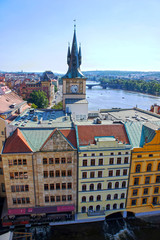View of the Vltava River and Prague house from the Lesser tower