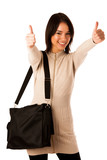 Attractive asian caucasian woman student  with briefcase showing