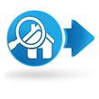 recherche maison sur symbole web bleu