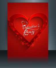 Beautiful brochure card for valentine's day template colorful ve
