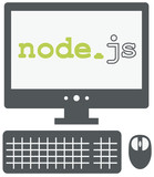 vector icon of personal computer with node js title on the scree