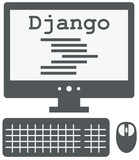 vector icon of personal computer with django code on the screen,