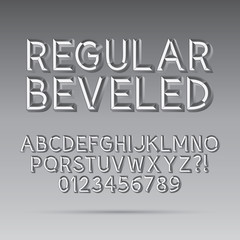 Beveled Outline Font and Digit, Eps 10 Vector, Editable for any