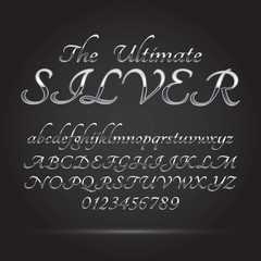 Silver Platinum Font and Numbers, Eps 10 Vector, Editable for an