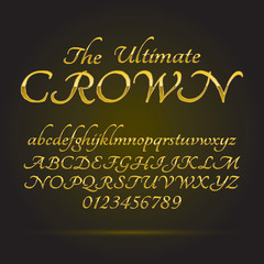 Luxury Golden Font and Numbers, Eps 10 Vector, Editable for any