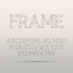 Line Framework Font and Digit, Eps 10 Vector, Editable for any B