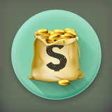 Bag of gold, long shadow vector icon