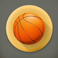 Basketball, long shadow vector icon