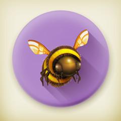 Bee, long shadow vector icon