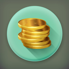 Stacks of gold coins, long shadow vector icon