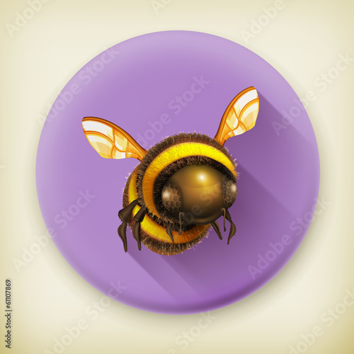 Bee, long shadow vector icon
