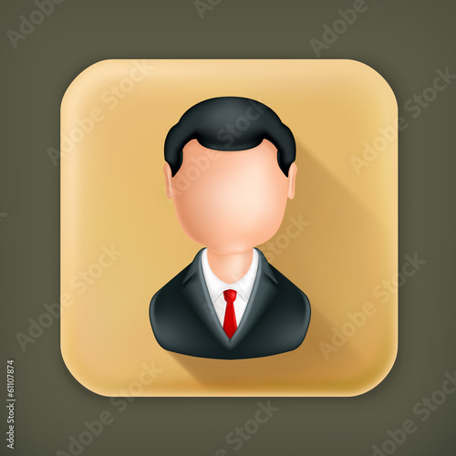 Businessman, long shadow vector icon