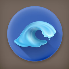 Water, long shadow vector icon