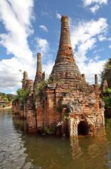 Ancient flooded pagodas near Samkar, Myanmar