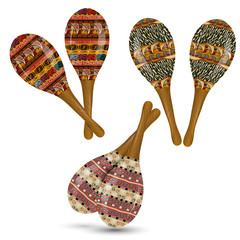 Set of maracas on a white background