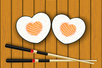 Heart-shaped sushi and chopsticks