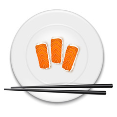 White plate with sushi and chopsticks