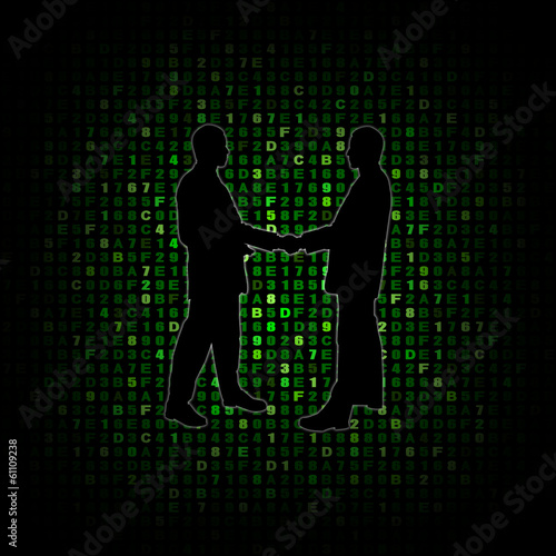 Handshake silhouette on hex code illustration