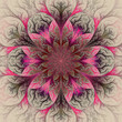 Beautiful fractal flower in red, pink and gray. Computer generat