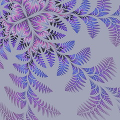 Fabulous asymmetrical pattern of the leaves on gray background.