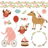 cute animals and graphic elements, holiday vector collection
