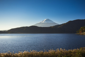 Mount Fuji with lake view
