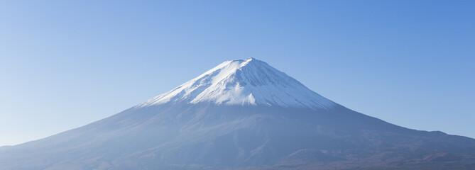 Panorama of Mt. Fuji view from Kawaguchi-ko lake. Yamanashi. Jap