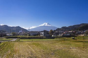 Mt. Fuji with country home and rice field.