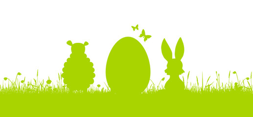 Osterkarte - Hase, Ei und Lamm