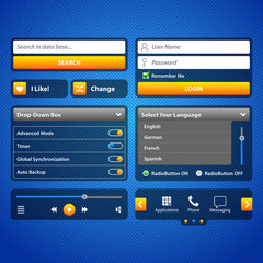 Simple UI Elements Blue Yellow.