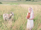 russian girl with goat outdoor