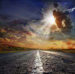 ummer landscape with old road