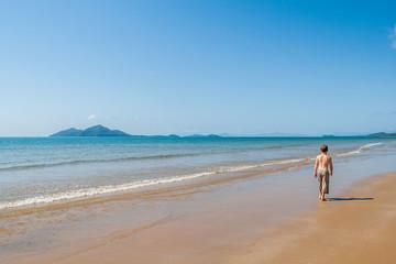 Young Boy Explore Blue Beach Islands