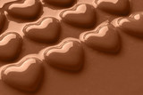 Smooth melted Chocolate hearts