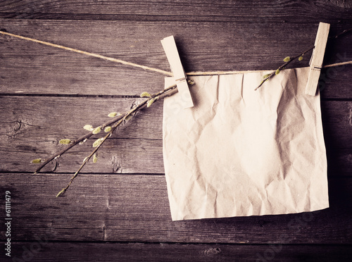 paper attach to rope with clothes pins and branch of willow on w