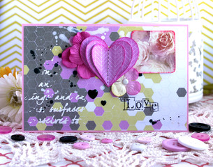 Valentine Day card with pink heart