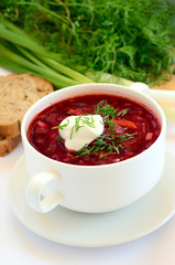 Red borscht with dill