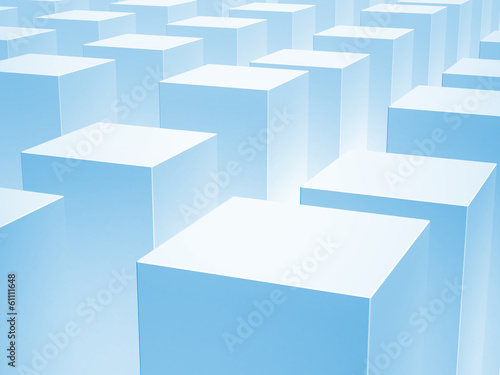 Abstract 3d background with array of blue boxes