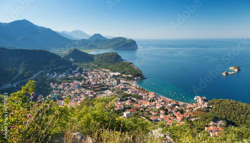 Adriatic Sea Coast. Landscape of Petrovac town, Montenegro - 61111653