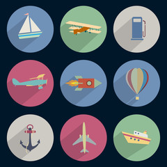 Vector set of icons transport with long shadow effect