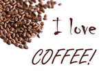 I love coffee on white background