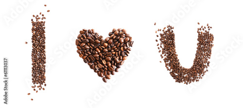 I love you made from coffee