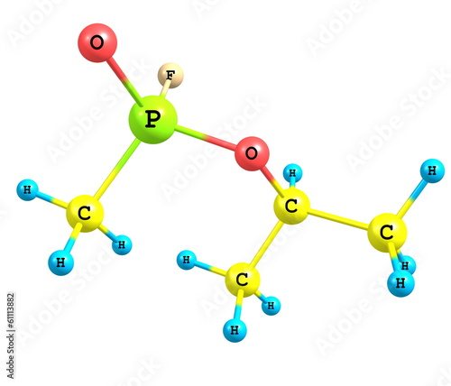 Molecular structure of sarin on white